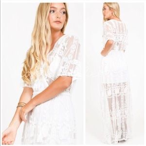 Dresses & Skirts - White Lace Bohemian Maxi Dress